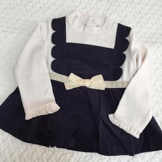 petit main - プティマイン  コーデュロイキャミの重ね着風Tシャツ