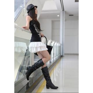 本革ロングブーツ☆超人気カジュアル低ヒール騎士靴M57(ブーツ)