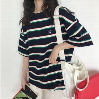 新品♫ ボーダー Tシャツ ダメージ加工 カットソー 半袖トップス[メ](Tシャツ(半袖/袖なし))