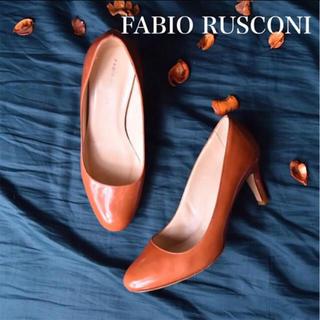 FABIO RUSCONI - 【美品】 ファビオルスコーニ エナメル パンプス オレンジ