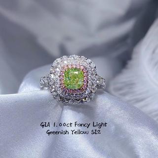 gia♡1カラットグリーンイエローダイヤモンド指輪(リング(指輪))