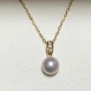ミキモト(MIKIMOTO)の【現行品】ミキモト パールネックレス ダイヤモンド k18(ネックレス)