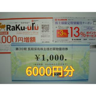 ★最新★ビックカメラ 株主優待 6000円分