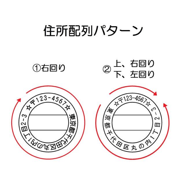 丸型住所ゴム印(新パターン、イラスト追加) ハンドメイドの文具/ステーショナリー(はんこ)の商品写真