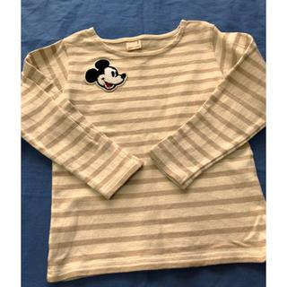 プティマイン(petit main)の大人気プティマインミッキーワッペン付きボーダーロンT(Tシャツ/カットソー)
