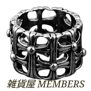 送料無料26号クロムシルバーサージカルステンレスクロス十字架セメタリーリング指輪(リング(指輪))
