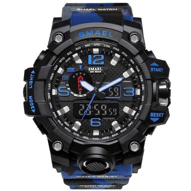 SMAEL ミリタリー 迷彩風 アナデジ 腕時計  多機能:アナデジ表示、50 の通販