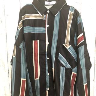 柄シャツ 古着系シャツ 黒 ブルー ビッグシルエット 男女兼用