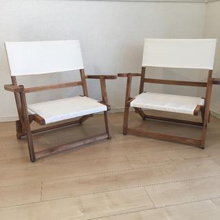 ニトリ - 《2脚セット♪売り切れ大人気商品!》ニトリ 木製折りたたみローチェア アイボリー