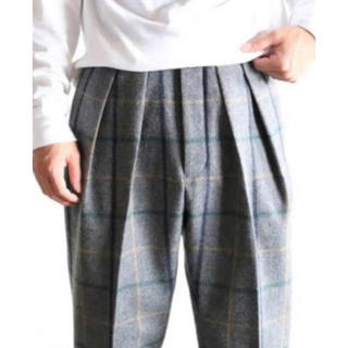 1LDK SELECT - NEAT WOOL check PLAID TAPERED PANTS 46