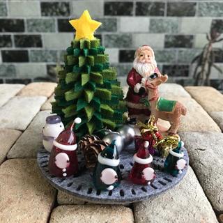 ガラスのクリスマスオブジェ(サンタH)