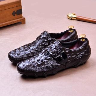 本革 ワニ革型押し モカシン レジャー ビジネス皮靴 シューズ メンズDZ507(ドレス/ビジネス)