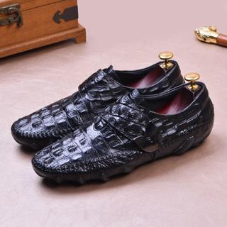 本革 ワニ革型押し モカシン レジャー ビジネス皮靴 シューズ メンズDZ508(ドレス/ビジネス)