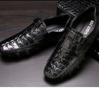 新品 ワニ革型押しモカシンレジャービジネス皮靴本革シューズ メンズDZ512(ドレス/ビジネス)