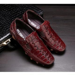 新品 ワニ革型押しモカシンレジャービジネス皮靴本革シューズメンズDZ511(ドレス/ビジネス)
