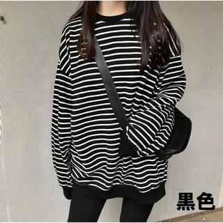 韓国で人気 オーバーサイズ トップス ボーダー ロングTシャツ フリーサイズ
