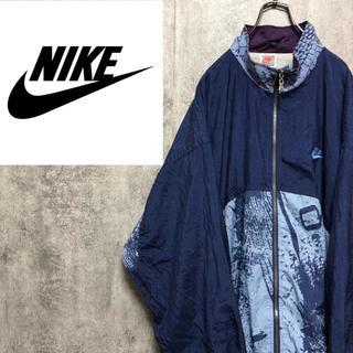 NIKE - 【激レア】ナイキNIKE☆銀タグ刺繍ロゴ入り総柄切替ナイロンジャケット 90s