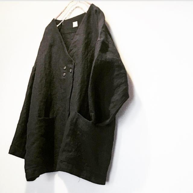 控えめダブルボタンのジャケット 黒 ハンドメイドのハンドメイド その他(その他)の商品写真
