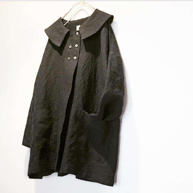 レトロ襟のジャケット  黒 ハンドメイドのハンドメイド その他(その他)の商品写真