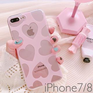 iPhone7/8ケース クリアハート柄 ピンク