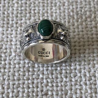 グッチ(Gucci)のグッチ キャットヘッドリング グリーンストーン(リング(指輪))