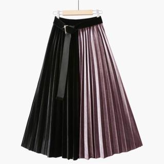 ベルト付き プリーツスカート ハイウェスト ピンク フリーサイズ