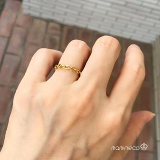 8号サイズ ステンレス製 イエローゴールド 4面カット小豆チェーンリング幅3mm(リング(指輪))