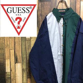 GUESS - 【激レア】ゲスGUESS☆ロゴタグ入りマルチバイカラーBDシャツ 90s