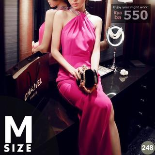 キャバドレス 248P ピンク タイト ロング スリット スパン S-M-L(ミニドレス)