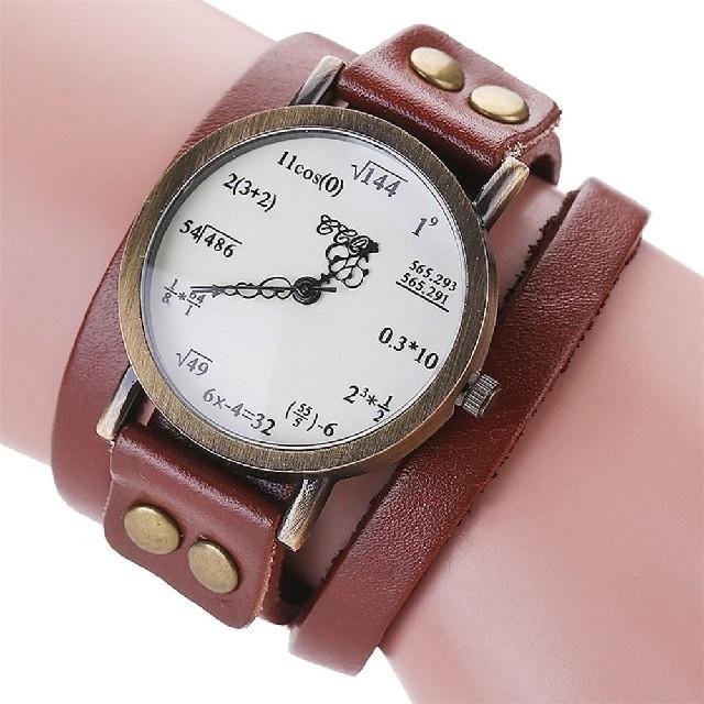 数式腕時計 ぐるぐる ブラウンの通販