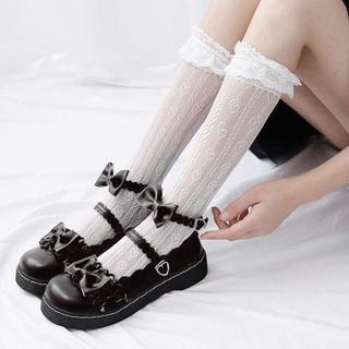 新品☆(24.5cm)黒合皮マット★ハートバックル&ダブルリボンロリータ靴(ハイヒール/パンプス)