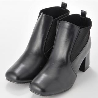 シマムラ(しまむら)の新品 プチプラのあや 履き口ニットショートブーツLサイズブラック しまむら(ブーツ)