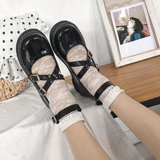 新品☆(24.5cm)黒合皮エナメル★クロスストラップロリータ靴(ハイヒール/パンプス)