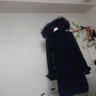 バーバリーブルーレーベル(BURBERRY BLUE LABEL)のブルーレーベル クレストブリッジ size38 リアルファー メルトン コート(ピーコート)