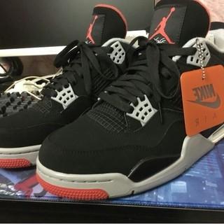 ナイキ(NIKE)のNIKE Air Jordan 4 Bred AJ4黒紅の雄牛バスケットシューズ(スニーカー)