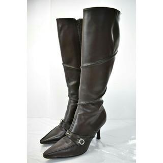 サルヴァトーレフェラガモ(Salvatore Ferragamo)の良品フェラガモ ガンチーニ 金具 ロング ブーツ 6 C23cm茶色(ブーツ)