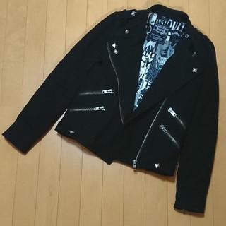ムルーア(MURUA)のMURUA ライダース コート 黒 ブラック スタッズ ウール(ライダースジャケット)