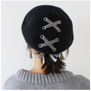 EATME - MODEROBE モードローブ ウール混 リボンベロアベレー帽 ベレー
