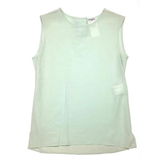 CHANEL - CHANEL☆ E97 ノースリーブシャツ シルク ココマーク ライトグリーン
