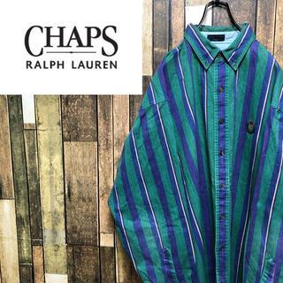 Ralph Lauren - 【激レア】チャップスラルフローレン☆刺繍ロゴビッグマルチストライプシャツ 90s