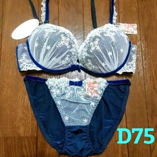 【新品】ブラジャー ショーツ セット d75 D75 豪華 刺繍 シフォン(ブラ&ショーツセット)