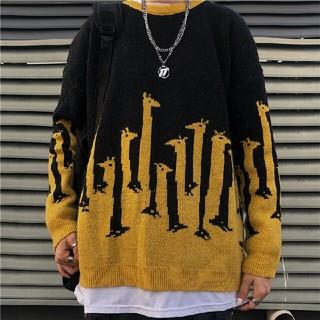 秋冬 原宿 メンズ キリン柄  配色 ニット セーター   黄