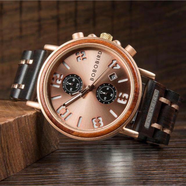 【新品】BOBO BIRD クロノグラフ メンズ木製腕時計(メタルブロンズ)の通販