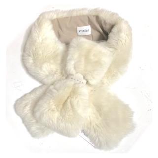 フルラ(Furla)の新品 レッキス リボン ファー ティペット ホワイト(マフラー/ショール)