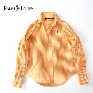 ラルフローレン(Ralph Lauren)のラルフローレン ギンガムチェックシャツ オレンジ×ブルーポニー刺繍◎0(S)(シャツ/ブラウス(長袖/七分))