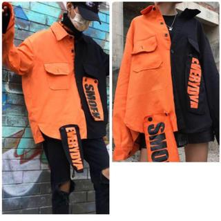 バイカラー シャツジャケット ビッグシルエット P18(シャツ/ブラウス(長袖/七分))