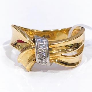 リボンモチーフ♡K18 PT900 ダイヤモンド リング(リング(指輪))