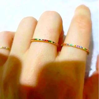 フルエタニティマルチカラー細身ゴールドリング(リング(指輪))