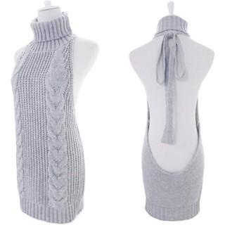 ⑦肌見せ レディース カットソー ワンピース タートルネック バックレス 編み物(ニット/セーター)