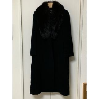 コジャーナ 東京スタイル ブルーフォクスファー付き ロングコート 黒(毛皮/ファーコート)